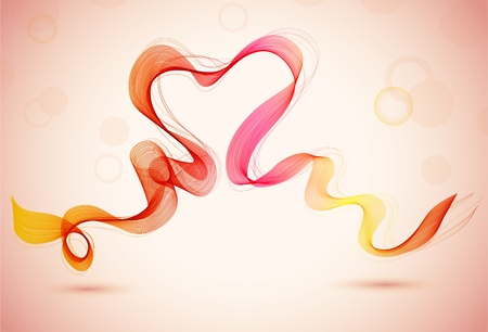 Abstract  color background with heart and wave, illustration Vector