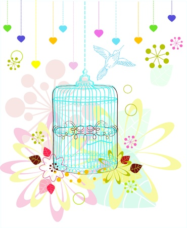 Cage with flowers and bird over white, illustration Vector