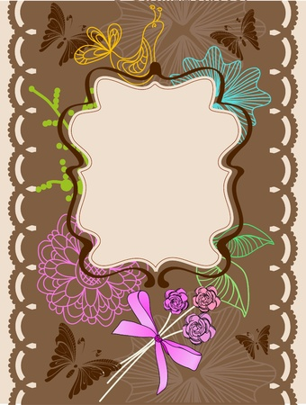 Floral card for holiday, illustration Vector