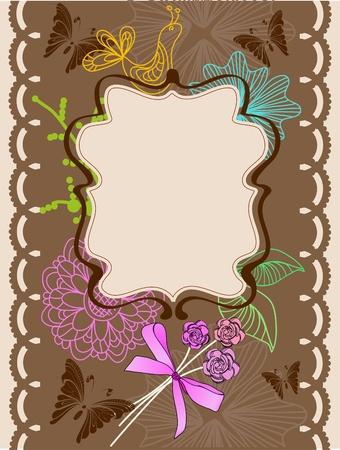 Floral card for holiday, illustration