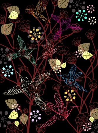 Beautiful dark floral background with birds, illustration Vector