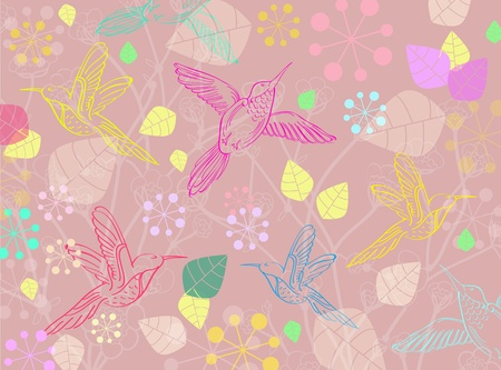 Beautiful floral illustration with birds, illustration Vector