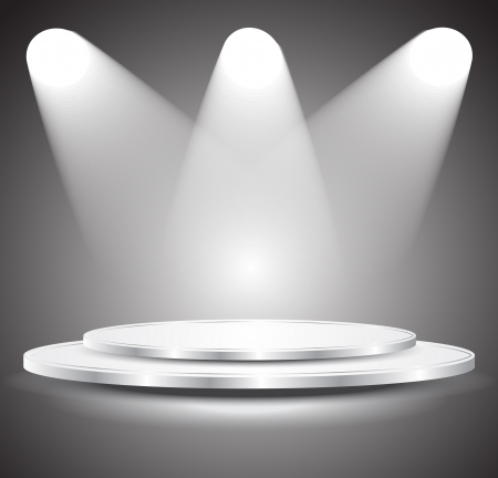 beam of light: 3d Empty white podium with light, illustration