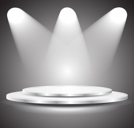 3D podio vuoto bianco con la luce, illustrazione