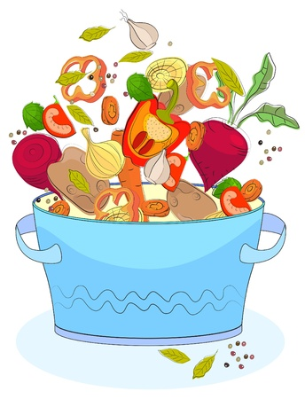 soup and salad: Blue pan with different vegetables, illustration