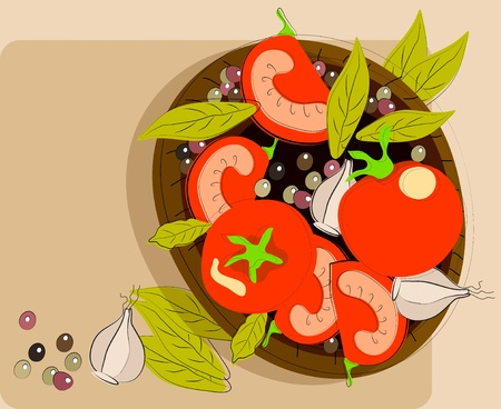 Background with tomato, garlic and spices on a plate, illustration Vector