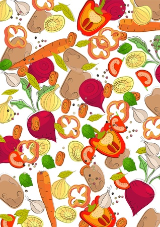 Background with different vegetables, illustration Vector