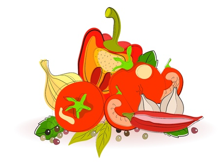 Background with fresh vegetables, illustration Vector