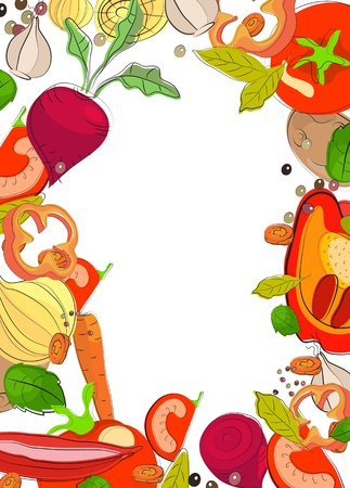 Background with bright vegetables, illustration Illustration