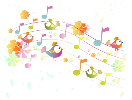 rainbow music: Abstract color music background with birds, illustration