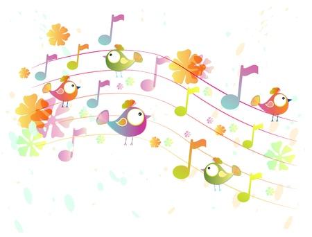 Abstracte kleur achtergrond muziek met vogels, illustratie