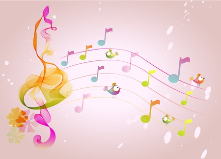 Abstract color music background with birds, illustration