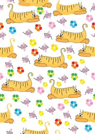 Orange cat and pink mouse, seamless background, illustration Vector
