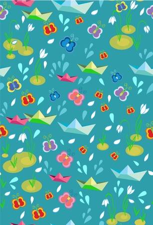 Childish seamless spring background with paperships, illustration Vector