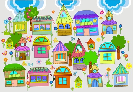 warm home: Beautiful background with colorful houses, illustration