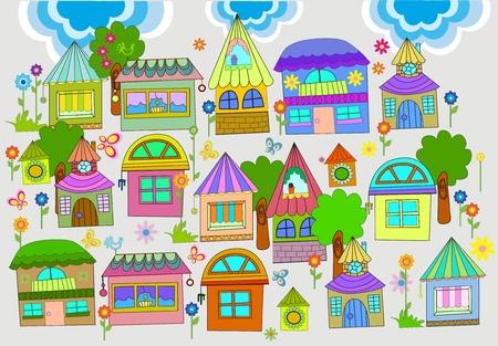 colourful houses: Hermoso fondo con coloridas casas, ilustraci�n Vectores