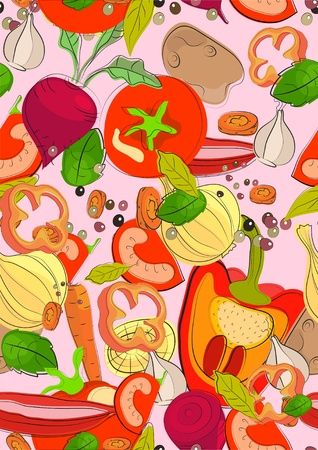 Seamless color background with vegetables, illustration Vector