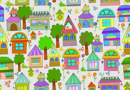 Seamless color background with cute houses and flowers Vector
