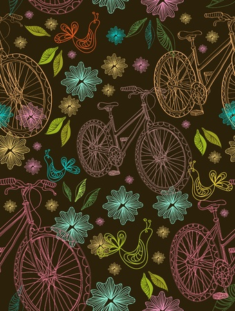 Seamless background with flowers, bike and bird over dark Vector