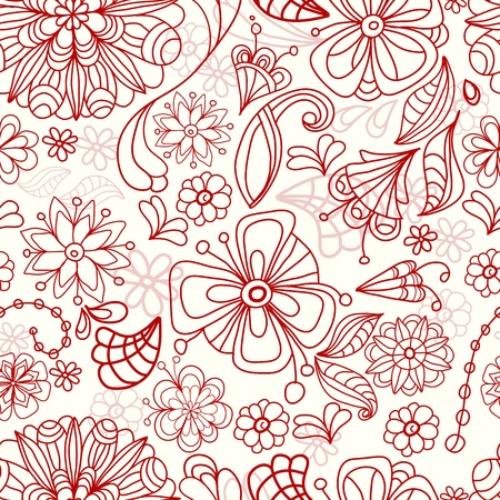 Seamless doodle tender floral background, illustration Stock Vector - 12437429