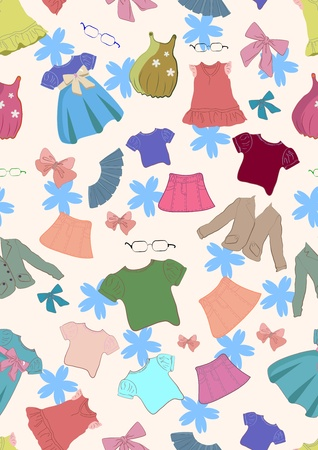 Seamless colorful background with cute children clothes, illustration Vector