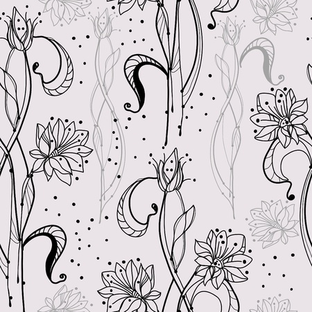 seamless pattern with tender flowers, beautiful illustration Vector