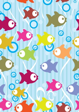 Seamless color background with cute cartoon fish, illustration Vector