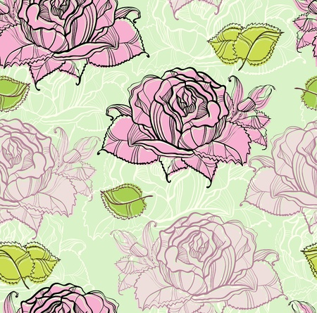 seamless pattern with rose and leaf, illustration Stock Vector - 12437453