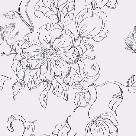 illustration line art: Floral seamless pattern, hand drawing illustration