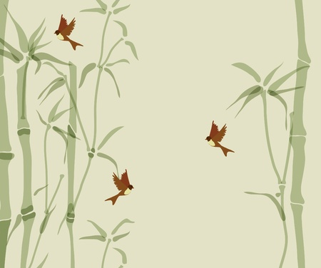Card with bamboo and swallows, beautiful illustration Illustration