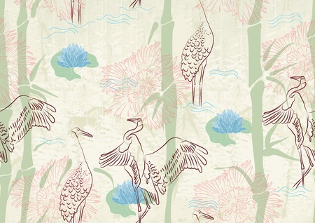 Seamless background with bamboo, stork and lily, beautiful illustration Stock Vector - 12437465