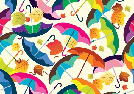 seamless pattern with colorful umbrellas, beautiful illustration Vector