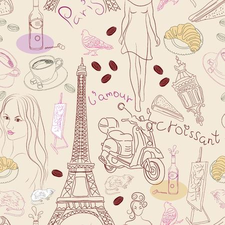decorando: De fondo sin fisuras con los diferentes elementos del doodle de Par�s, ilustraci�n Vectores