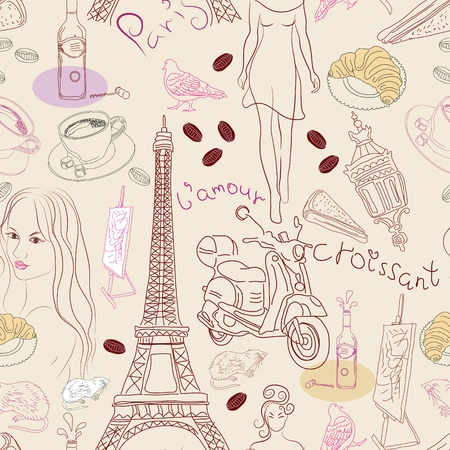 french bakery: Seamless background with different Paris doodle elements, illustration Illustration