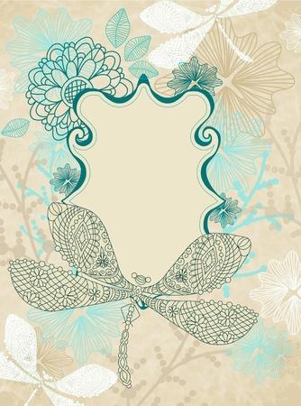 kaart met mooie libel en bloemen, illustratuin