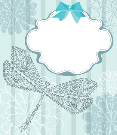 Blue card with beautiful dragonfly and flowers, illustratuin Vector