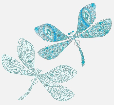 dragonfly art: Two dragonfly with unique pattern and color, illustration