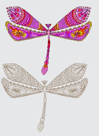 Two dragonfly with unique pattern and color, illustration