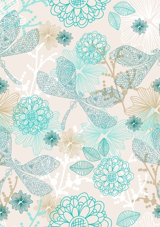 Abstract hand-drawing background, Seamless pattern with flowers and dragonfly can be used for wallpaper, pattern fills, web page background, surface textures, illustration Stock Vector - 12437491