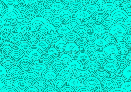 water splashes: Abstract hand-drawing Seamless pattern with fish and waves, can be used for wallpaper, pattern fills, web page background, surface textures, illustration