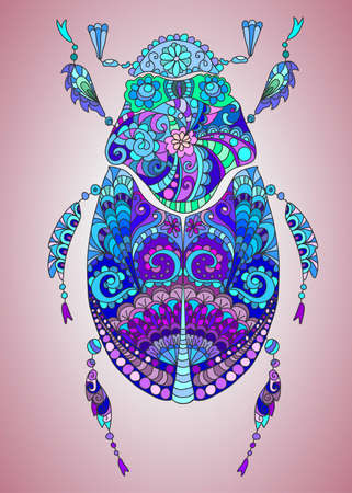 cartoon insect: Beautiful hand-drawing colorful bug with pattern, illustration