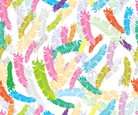can pattern: Abstract hand-drawing Seamless pattern with colorful feather, can be used for wallpaper, pattern fills, web page background, surface textures, illustration Illustration