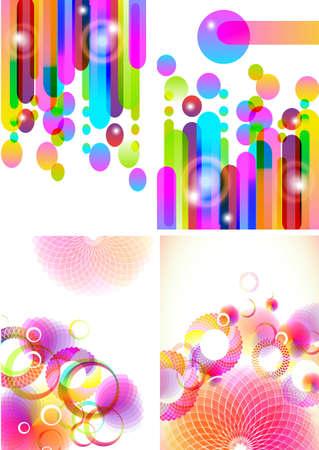 rainbow stripe: Set of four beautiful abstract background, illustration