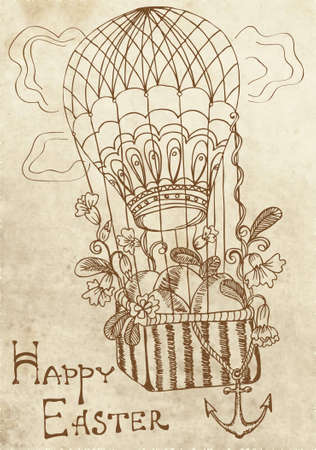 retro Easter card with air Balloon, illustration Vector