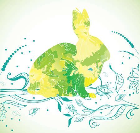 Easter Rabbit with green flowers, illustration Vector