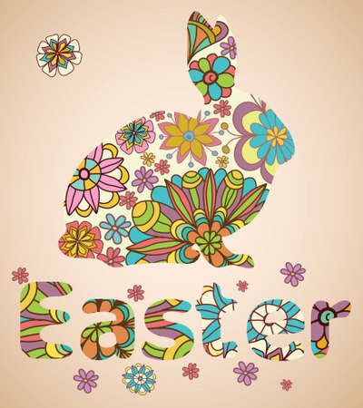 cartoon easter: Easter Rabbit with flowers, illustration