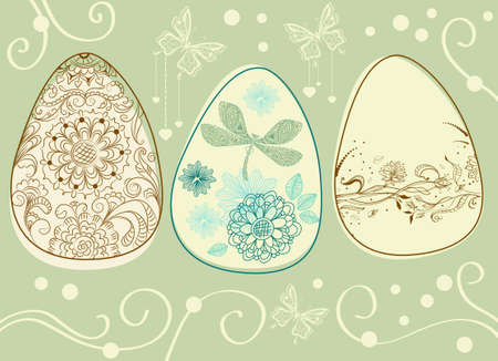 easter eggs with floral elements, illustration Vector