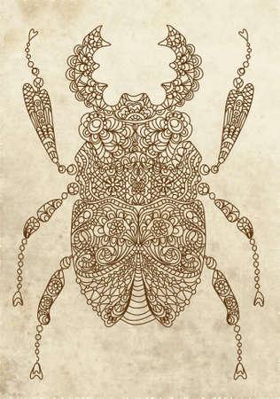 Retro bug,beautiful ornamental illustration Vector