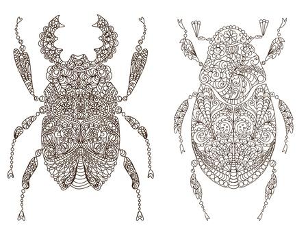 mosca caricatura: dos hermosos insectos, ilustración Vectores
