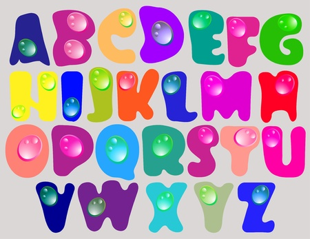 Abstract ABC,color alphabet with color drops, beautiful illustration Vector